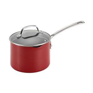 Genesis Red Aluminum Nonstick 3-Quart Covered Straining Saucepan