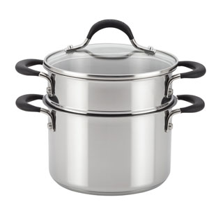 Momentum Stainless Steel Nonstick 3-Quart Covered Straining Saucepot with Steamer Insert