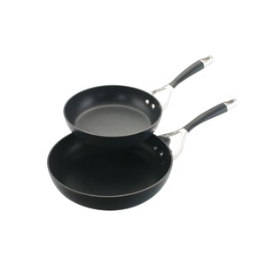 Elite Charcoal Hard-Anodized Nonstick 2-Piece Twin Pack 8-Inch and 10-Inch Deep Skillet Set