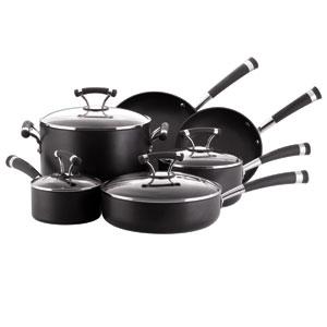 Contemporary Black Symmetry Hard-Anodized Nonstick 10-Piece Cookware Set