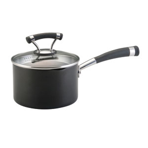 Contemporary Black Contempo 2-Quart Covered Straining Saucepan