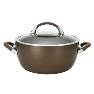Symmetry Chocolate Hard-Anodized Nonstick 5.5-Quart Covered Casserole