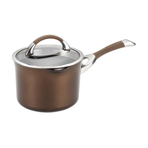 Symmetry Chocolate Hard-Anodized Nonstick 3.5-Quart Covered Straining Saucepan