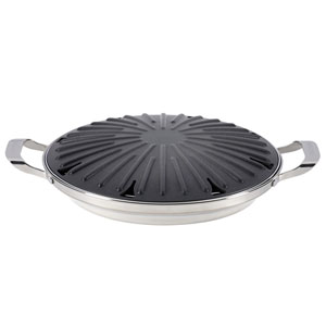 Hard-Anodized Nonstick 12-Inch Round Stovetop Grill with Accessories
