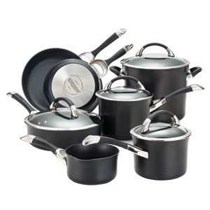 Symmetry Black Hard-Anodized Nonstick 11-Piece Cookware Set
