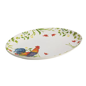 Meadow Rooster Stoneware 9.75-Inch x 14-Inch Oval Platter