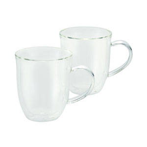 Coffee, 2-Piece Set, 12-Ounce, Insulated Borosilicate Glass Latte Cups