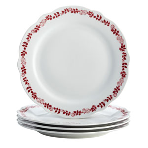 Yuletide Garland 4-Piece Porcelain Fluted Dinner Plate Set