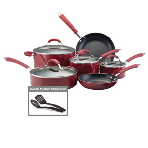 Nonstick Red Aluminum 12-Piece Cookware Set