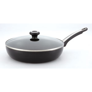Nonstick Black 12-Inch Covered Deep Skillet