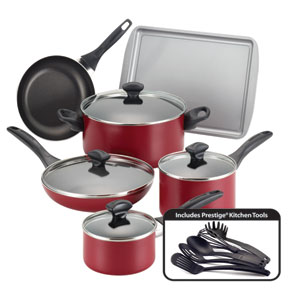 Nonstick Red 15-Piece Cookware Set