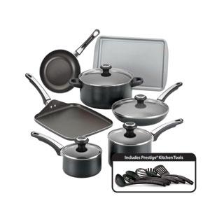 Nonstick Black Aluminum 17-Piece Cookware Set