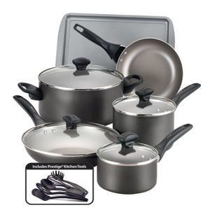 Nonstick Pewter Aluminum 15-Piece Cookware Set