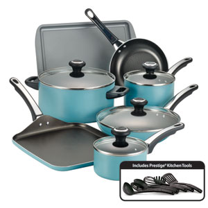 Nonstick Aqua Aluminum 17-Piece Cookware Set