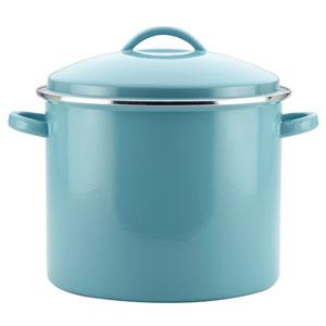 Enamel-on-Steel Large 16-Quart Aqua Covered Stockpot
