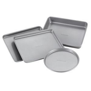Nonstick Gray Bakeware 4-Piece Toaster Oven Set