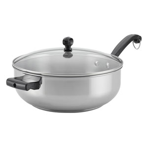 Classic Stainless Steel 6-Quart Covered Chef Pan with Helper Handle