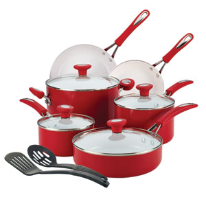 Ceramic CXi, Red Nonstick Aluminum 12-Piece Cookware Set