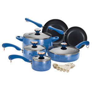 Porcelain Blue Nonstick 15-Piece Cookware Set