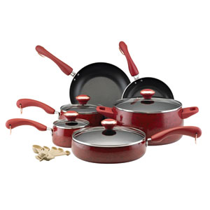 Porcelain Red Nonstick 15-Piece Cookware Set