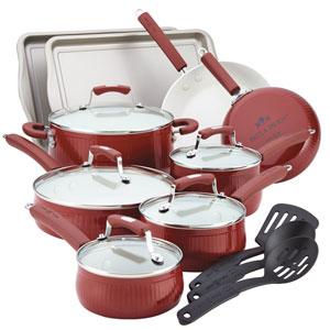 Savannah Collection Aluminum Red 17-Piece Cookware Set