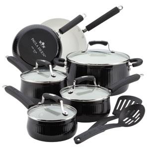 Savannah Collection Aluminum Black Nonstick 12-Piece Cookware Set