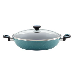 Aluminum Nonstick Blue 12-1/2-Inch Covered Chicken Fryer with Side Handles
