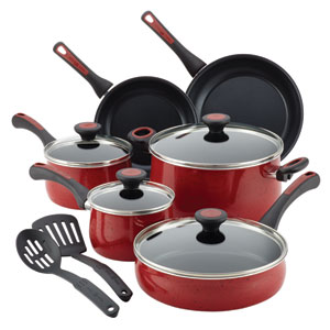 Aluminum Nonstick Red 12-Piece Cookware Set