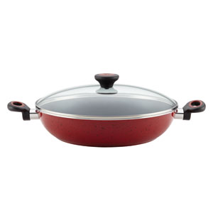 Aluminum Nonstick Red 12-1/2-Inch Covered Chicken Fryer with Side Handles
