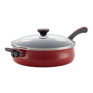 Aluminum Nonstick Red 5-Quart Covered Jumbo Cooker with Helper Handle