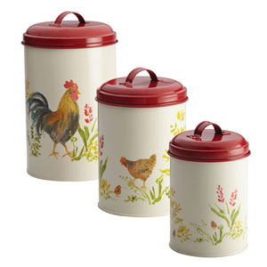 Garden Rooster Food Storage Three-Piece Canister Set