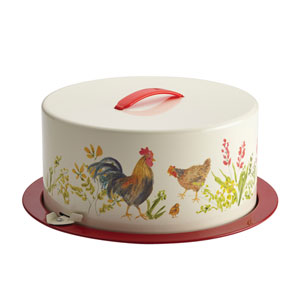 Garden Rooster Metal Cake and Pie Carrier