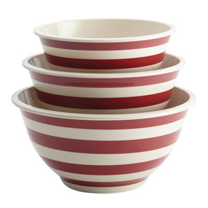 Striped Red Melamine Three-Piece Mixing Bowl Set