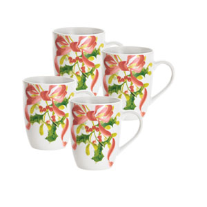 Christmas Wreath Porcelain 4-Piece 11-Ounce  Mug Set