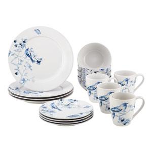 Indigo Blossom 16-Piece Stoneware Dinnerware Set