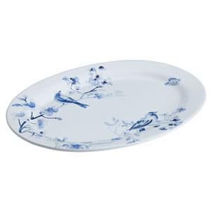 Indigo Blossom 10-Inch x 14-Inch Stoneware Oval Serving Platter
