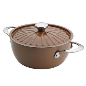 Cucina, Brown Porcelain Round 4.5-Quart Casserole