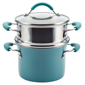 Cucina, Blue Porcelain 3-Quart Pot and Steamer Set