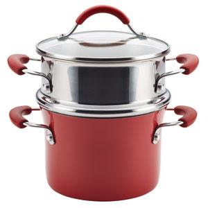 Cucina, Red Porcelain 3-Quart Pot and Steamer Set
