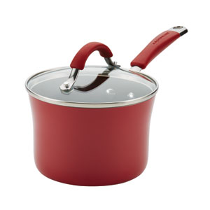Cucina, Red Porcelain 2-Quart Saucepan
