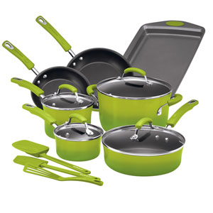 Green Gradient 14-Piece Cookware Set