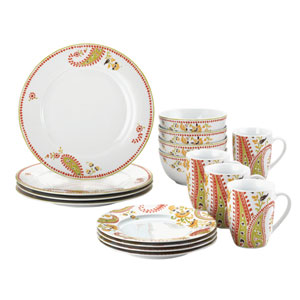 Paisley 16-Piece Porcelain Dinnerware Set