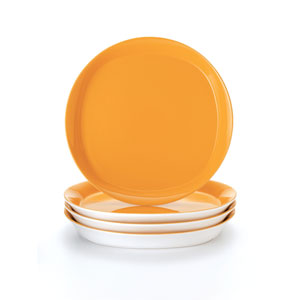 Round and Square Yellow 4-Piece Dinner Plate Set