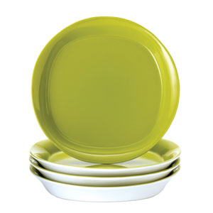 Round and Square Green 4-Piece Stoneware Salad Plate Set