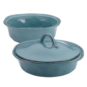 Cucina, Blue 3-Piece Round Casserole and Lid Set