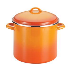 Orange 12-Quart Covered Stockpot