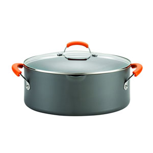 Gray and Orange 8-Quart Oval Pasta Pot
