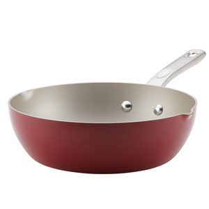 Home Collection Sienna Red 9.75 In. Porcelain Enamel Nonstick Chef Pan with Pour Spouts