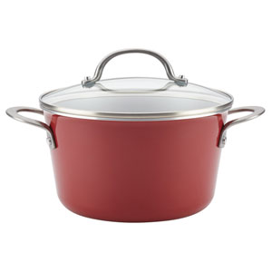 Home Collection Sienna Red 4.5-Quart Porcelain Enamel Nonstick Covered Saucepot