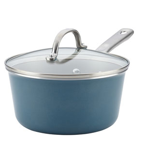 Home Collection Twilight Teal 3-Quart Porcelain Enamel Nonstick Covered Saucepan